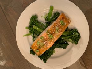 Baked Salmon and Leafy greens